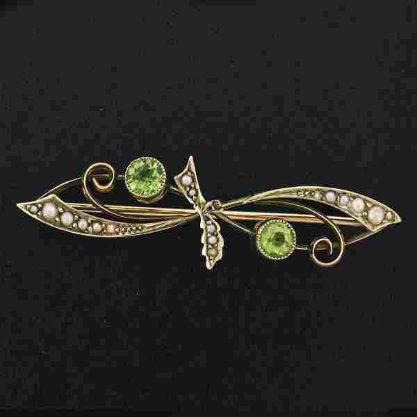 Antique Victorian 9k Gold Old Round Cut Peridot & Seed
