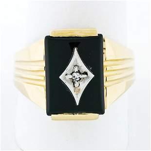 Men's Vintage 14K TT Gold Rectangular Black Onyx &