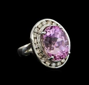 14KT White Gold 16.20 ctw Kunzite and Diamond Ring