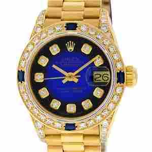 Rolex Ladies 18K Yellow Gold Blue Vignette Diamond And