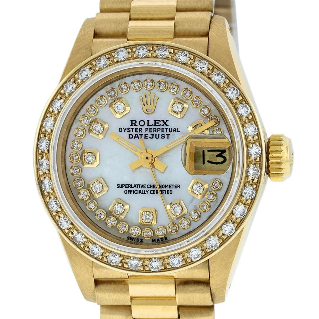 Rolex Ladies 18K Yellow Gold Mother Of Pearl String