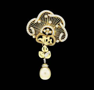 2.65 ctw Diamond and Pearl Pendant-Pin - 18KT Yellow