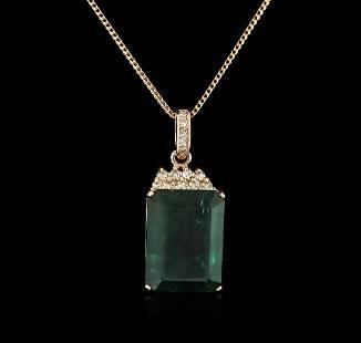14KT Rose Gold 18.78 ctw Emerald and Diamond Pendant