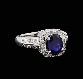 1.60 ctw Sapphire and Diamond Ring - 14KT White Gold