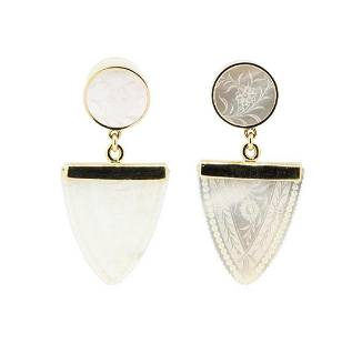 Hand-Engraved Mother of Pearl Dangle Earrings - 14KT