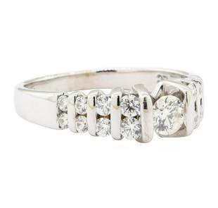 0.89 ctw Diamond Ring - 14KT Yellow Gold with Rhodium