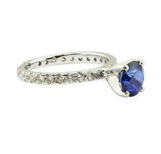 1.91 ctw Blue Sapphire and Diamond Ring - 14KT White