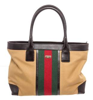 Gucci Brown Coated Canvas Web Tote Bag