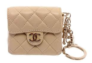 Chanel Beige Leather CC Mademoiselle Mini Flap Charm