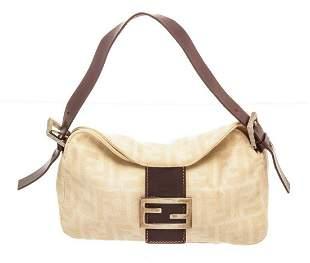 Fendi Beige Canvas Zucca Shoulder Bag