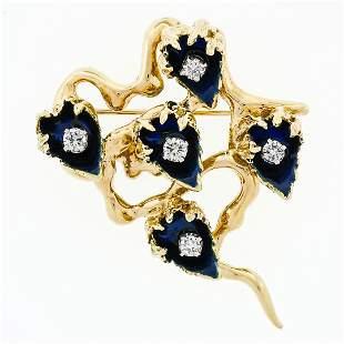 Vintage 18k Gold Dark Blue Enamel & 0.53 ctw Diamond