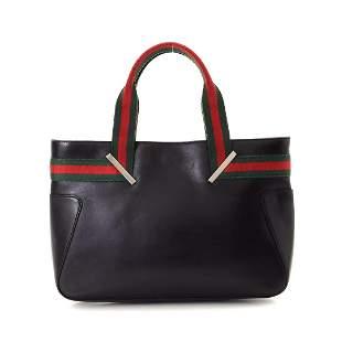 Gucci Black Canvas Web Shoulder Bag