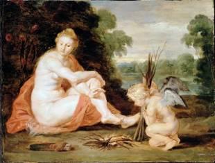 Sir Peter Paul Rubens - Venus and Cupid Warming