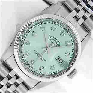 Rolex Mens Stainless Steel Ice Blue Diamond Oyster