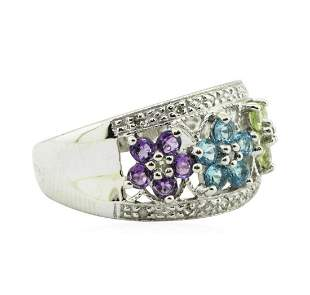 1.20 ctw Multi-Colored Gemstone and Diamond Ring - 14KT