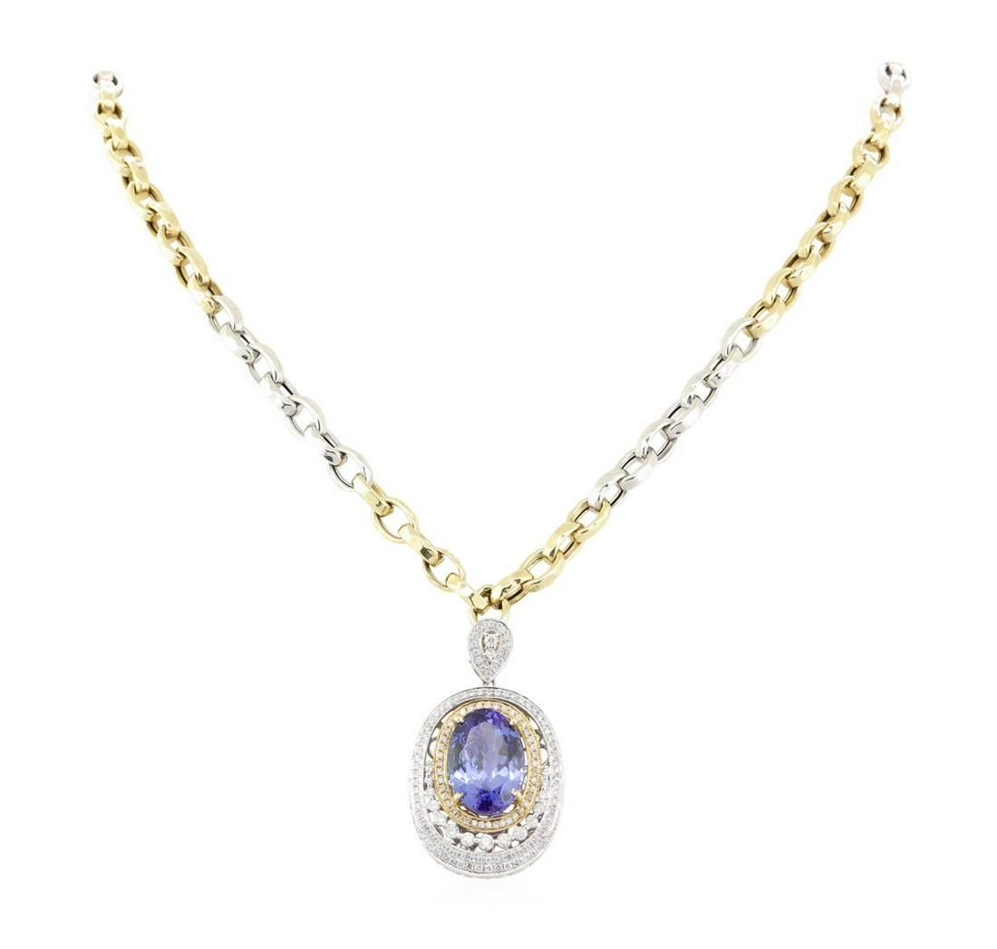 14.17 ctw Tanzanite and Diamond Pendant With Chain -