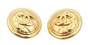 Chanel Gold CC Disc Earrings