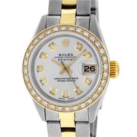 Rolex Ladies 26 Yellow Gold Stainless Steel Silver