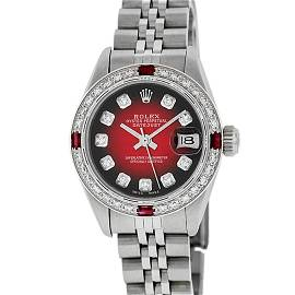 Rolex Ladies Stainless Steel Red Vignette Diamond &
