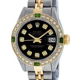 Rolex Ladies 2 Tone Black Diamond & Emerald 26mm Oyster