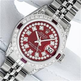 Rolex Ladies Stainless Steel Red Ruby & Diamond