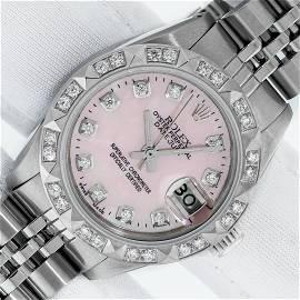 Rolex Ladies Stainless Steel Pink MOP Pyramid Diamond