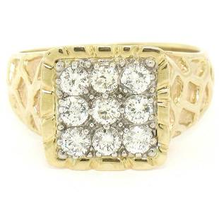 Mens 14K Two Tone Gold Nugget Design .90 ctw Round