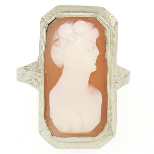 Antique 14kt White Gold Bezel Set Rectangular Carved