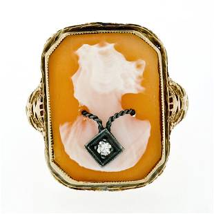 Antique Art Deco 14K Yellow Gold Carved Shell Cameo