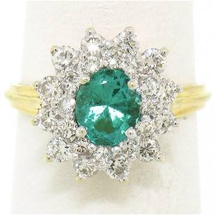 18k Yellow Gold 1.83 ctw Oval Colombian Emerald