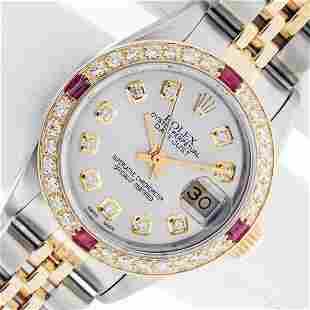 Rolex Ladies 2 Tone Silver Diamond & Ruby Oyster