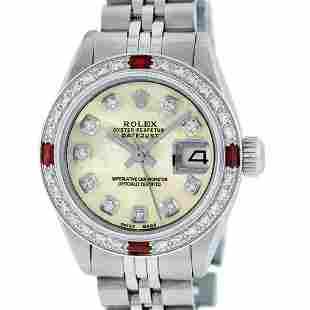 Rolex Ladies Stainless Steel Yellow MOP Diamond & Ruby