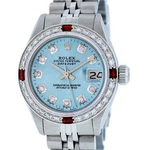 Rolex Ladies Stainless Steel Sky Blue Diamond & Ruby