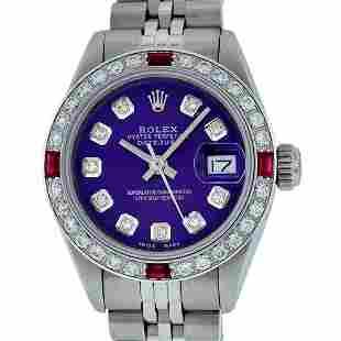 Rolex Ladies Stainless Steel Purple Diamond & Ruby 26MM