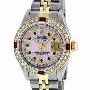 Rolex Ladies 2 Tone Pink MOP Diamond & String Ruby 26MM