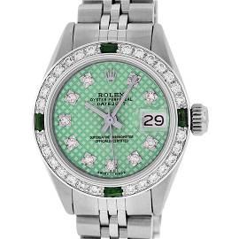 Rolex Ladies Stainless Steel Green Stamp Diamond &