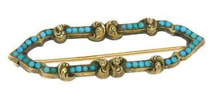 14k Yellow Gold Persian Turquoise Open Marquise Brooch