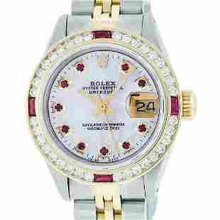 Rolex Ladies 2 Tone MOP Ruby & Diamond Datejust