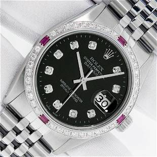 Rolex Mens Stainless Steel Black Diamond & Ruby 36MM