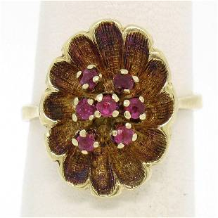 Vintage 14k Yellow Gold 0.25 ctw Round Ruby Cluster