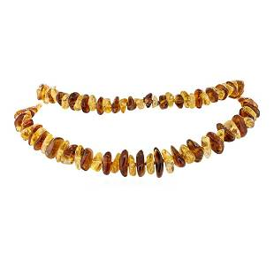 Thiry Inch Natural Quartz and Amber Necklace