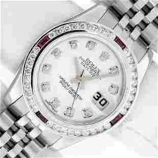 Rolex Ladies Stainless Steel White Diamond & Ruby