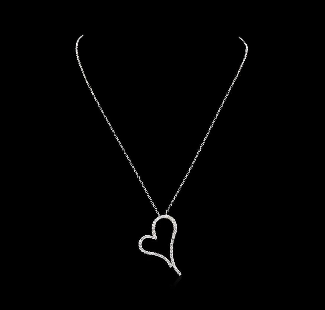 1.18 ctw Diamond Heart Pendant With Chain - 14KT White