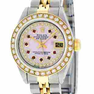 Rolex Ladies 2 Tone Pink MOP Ruby String Diamond