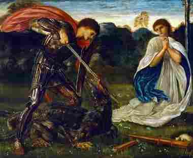 Edward Burne-Jones - St George kills the Dragon VI