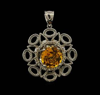 5.56 ctw Citrine and Diamond Pendant - 14KT White Gold