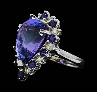 16.06 ctw Tanzanite, Sapphire and Diamond Ring - 14KT