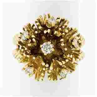 Vintage 14K Gold 0.48 ctw Diamond Twisted Wire Flower