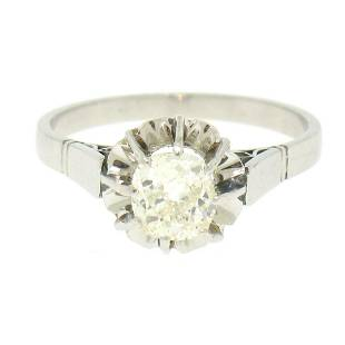 Antique Art Deco Platinum 0.78 ctw Old Mine Cut Diamond