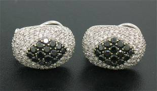 18k Solid White Gold 3.60 ctw White & Black Diamond